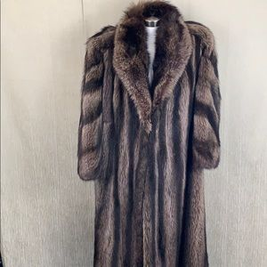 SHEARED BEAVER  BLACK TAN FULL LENGTH FUR COAT XL
